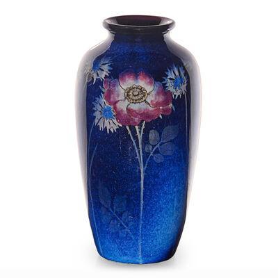Rookwood Pottery, 'Flambé/Black Opal vase with flowers (uncrazed)', 1924