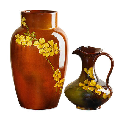 Lorinda Epply, 'Early Standard Glaze vase and Standard Glaze Light pitcher with dogwood blossoms, Cincinnati, OH', 1887/1899