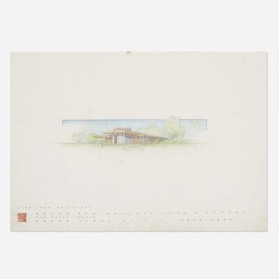 Frank Lloyd Wright, 'Presentation drawing for the John D. Haynes House, Fort Wayne, Indiana', 1950
