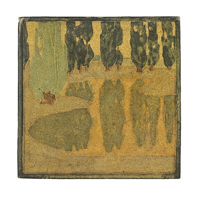 Marblehead Pottery, 'Marblehead Fine And Rare Scenic Tile, Marblehead, MA', ca. 1908