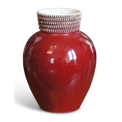 Gunnar Nylund, 'French Art Deco Vase with Carmine Red Glaze'