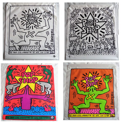 """Keith Haring, '""""POP SHOP NYC"""", 1980's, Plastic Drawstring Shopping Bag, Double-Sided.', 1980's"""