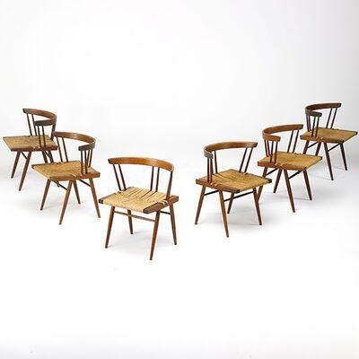 Nakashima Studio, 'Set of six Grass-Seated chairs, New Hope, PA', 1963