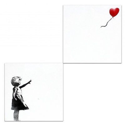 Banksy, 'Girl with Balloon (Diptych)', 2003