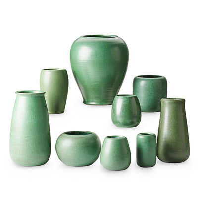 Marblehead Pottery, 'Nine Green Vases, Marblehead, MA', Early 20th C.