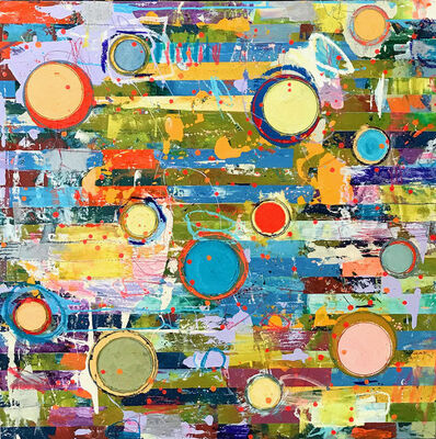 """Jylian Gustlin, '""""Fibonacci 383"""" Abstract mixed media painting in Bright Yellow, Green, Blue, Turquoise and Red', 2010-2018"""