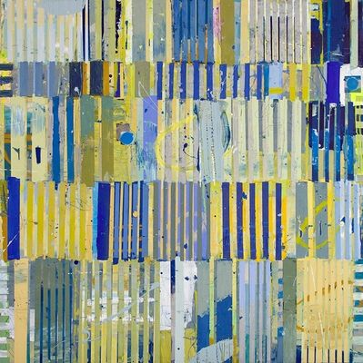 """Jylian Gustlin, '""""Magicus Quadratus 17"""" Abstract Painting in Blue Yellow Green inspired by Mathematical Concept', 2010-2017"""