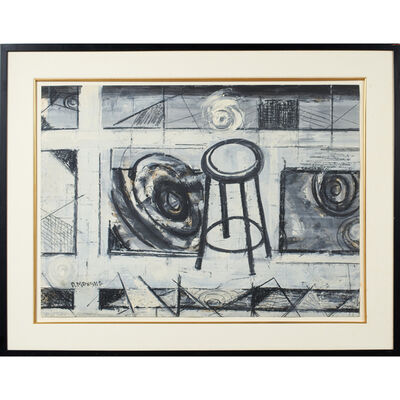 Dorothy Morang, 'Untitled (abstract with stool) (framed)'