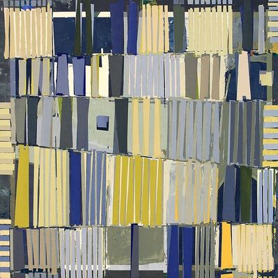 """Jylian Gustlin, '""""Magicus Quadratus 7"""" Abstract Painting in Blue Yellow Green of Math Concept', 2010-2017"""