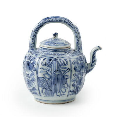 Porcelain, 'A Ming Blue and white porcelain Wine Ewer', Wanli
