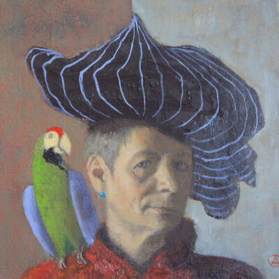 Olga Antonova, 'Self Portrait with parrot', 2017