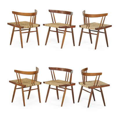 George Nakashima, 'Set Of Six Grass-Seated Chairs, New Hope, PA'