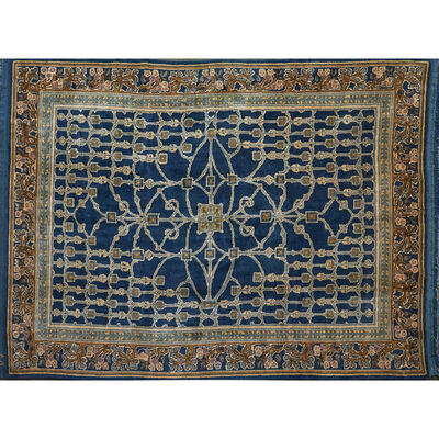Style Of William Morris, 'French Accents contemporary Donegal style hand-woven wool rug'