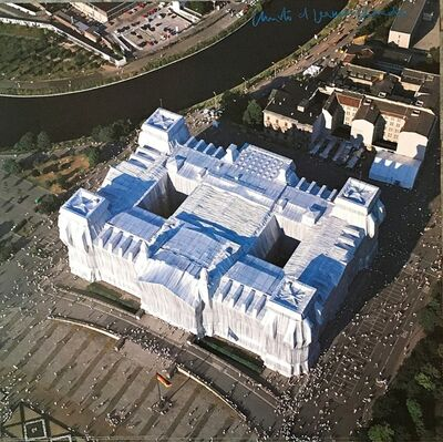 Christo and Jeanne-Claude, 'Wrapped Reichstag, Berlin (Hand Signed)', ca. 1995