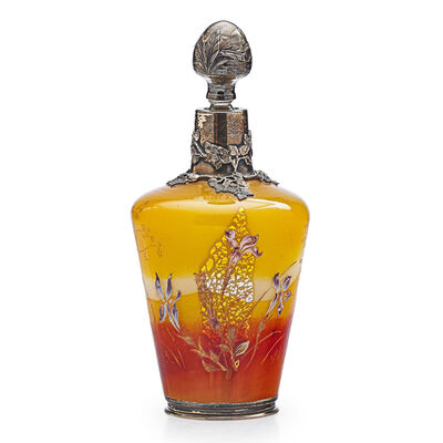 Galle, 'Early Bottle With Irises And Decorated Overlay And Stopper, France', Late 19th C.