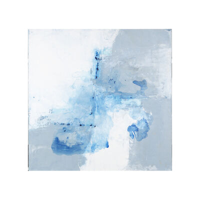 """John Schuyler, '""""Orrizonte #35"""" Abstract painting with grey, blue and white', 2010-2018"""