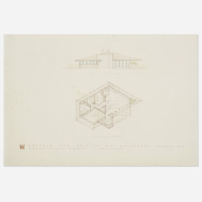 Frank Lloyd Wright, 'Elevation and Plan for the Chahroudi Cottage, Mahopac, New York', 1951