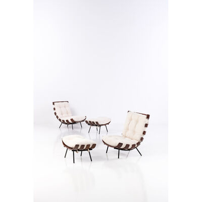 "Carlo Hauner, 'Model ""Costela"" - Pair of Armchairs and Ottomans', circa 1950"