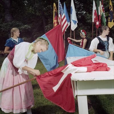 Naomi Harris, 'Girls Preparing Flags, Wilhelm Tell Days, New Glarus, Wisconsin', 2014
