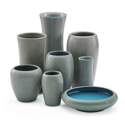 Marblehead Pottery, 'Eight Gray Vases, Marblehead, MA', Early 20th C.