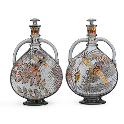 Galle, 'Exceptional Pair Of Two-Handled Japonesque Bottles With Moths, Beetles, And Palm Fronds, France', Late 19th C.