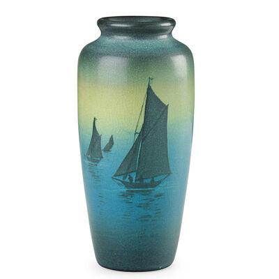 Sallie Coyne, 'Rookwood, Green Vellum Vase With Sailboats, Cincinnati, OH', 1908