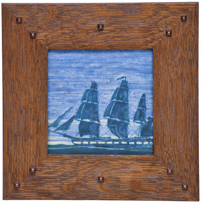 Marblehead Pottery, 'Ship tile (framed), Marblehead, MA', 1910s-20s