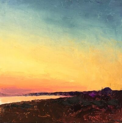 """Larry Horowitz, '""""Sunset at the Bay"""" oil painting of vibrant orange and yellow sunet', 2018"""