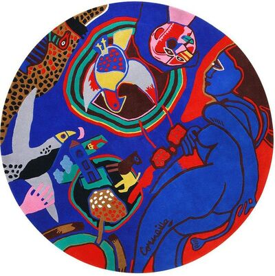 Guillaume Corneille, 'Vintage Round Corneille Tapestry Rug', ca. Mid 20th Century