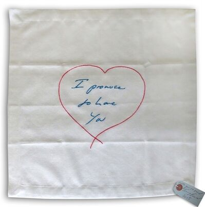 Tracey Emin, 'I Promise To Love You - embroidered napkin', 2012