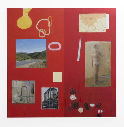 Simon Stone, 'Red Painting with Map', 2017