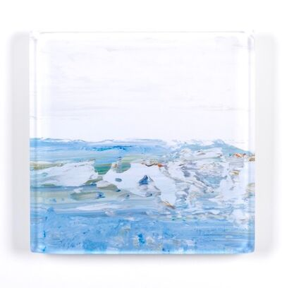 "John Schuyler, '""Vetro 0198-01 H"" abstract paintings behind an acrylic tile', 2018"