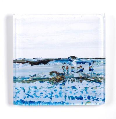 "John Schuyler, '""Vetro 0918-01 I"" abstract paintings behind an acrylic tile', 2018"