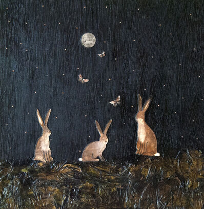 Ashley Anne Clark, 'Wild Hare Family with Moths', 2018