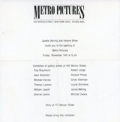 Sherrie Levine, 'Metro Pictures, Inaugural Exhibition, Paper Invitation', 1980