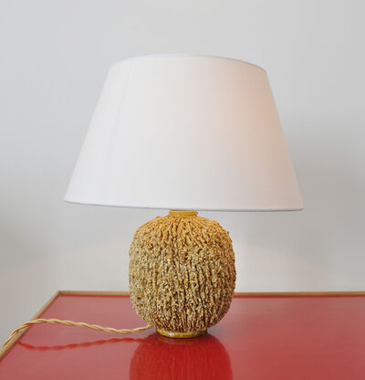 """Gunnar Nylund, 'Table lamp in yellow glazed """"chamotte""""', ca. 1950"""