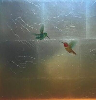 Carolyn Reynolds, 'Hummers in Aqua Sky and Gold ', 2018
