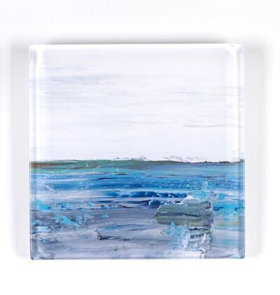 "John Schuyler, '""Vetro 0918-01 B"" abstract paintings behind an acrylic tile', 2018"
