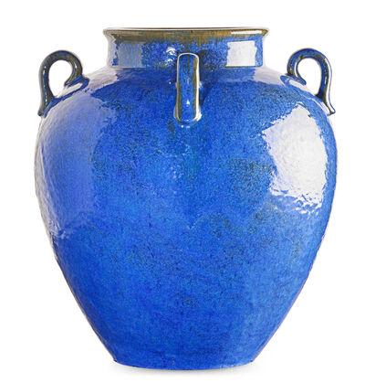 Fulper Pottery, 'Large four-handled Venetian Blue vase, Flemington, NJ', 1910s