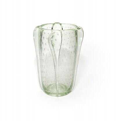 Ercole Barovier, 'A heavy crystal vase with applications and bubbles arranged regularly', circa 1938-1940