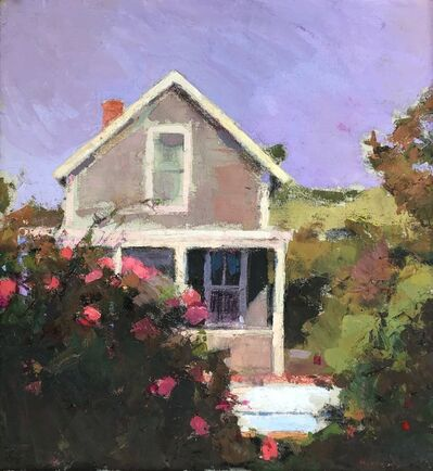 """Larry Horowitz, '""""Cottage and Roses"""" oil painting of a house with pink rose bushes', 2018"""