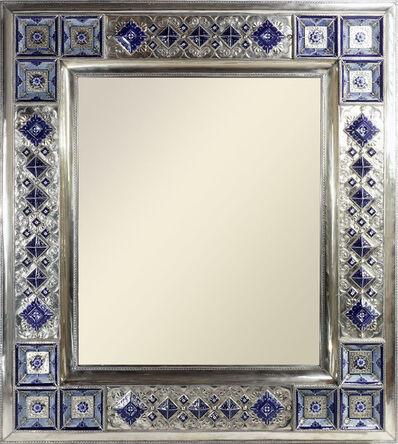 Jesus Guerrero Santos, 'Mirror Frame, German Silver 'Also Called Alpaca or White Metal' and Ceramic', 2018