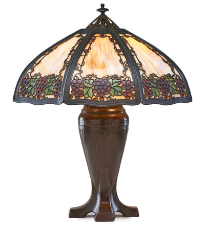 Handel, 'Large table lamp with grape overlay shade, Meriden, CT', 1910s-20s