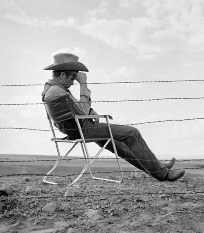 """Frank Worth, 'James Dean taking a break on set of """"Giants""""', 1955"""