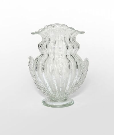 Ercole Barovier, 'A ribbed crystal vase with side applications and bubbles arranged regularly'