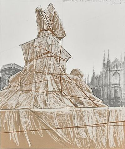 Christo, 'Wrapped Monument to Vittorio Emmanuele, Project for Piazza de Duomo, Milan', 1975
