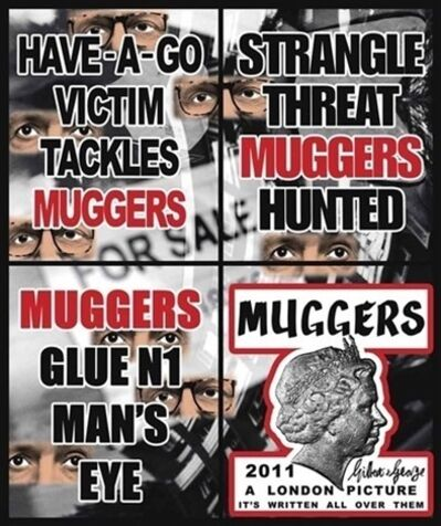 Gilbert & George, 'Muggers (in four parts)', 2011