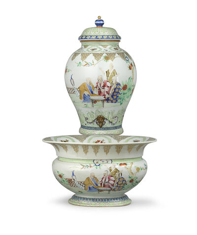 """Porcelain, 'Cistern and Basin decorated with 'the Doctor's Visit"""" after Cornelis Pronk Porcelain', 1736-1795"""