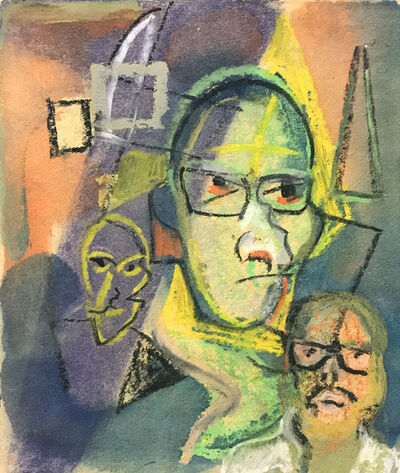 Ted Diamond, 'Untitled (Self Portrait Easel Other Faces)'