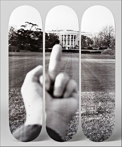 "Ai Weiwei, ' ""F#CK! The White House"" with Certificate of Authenticity Hand Signed by Ai Weiwei - (100 Days of Trump) Set of Three (3)  Lt Ed Skateboard Decks, one of only 66 with hand signed COA - hand signed by Ai Weiwei (the remaining 600 do not have a hand signed COA - only 1-66 have)', 2017"